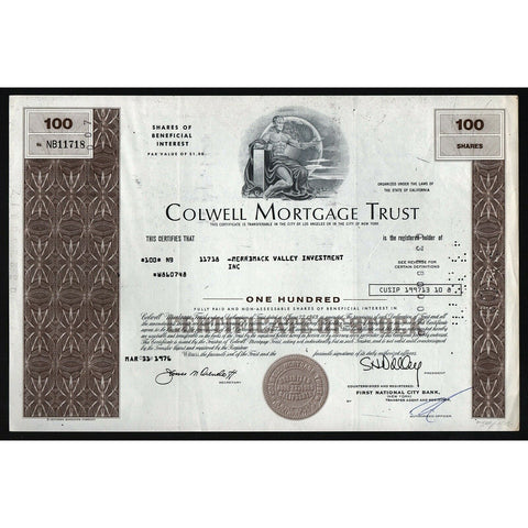 Colwell Mortgage Trust California Stock Certificate