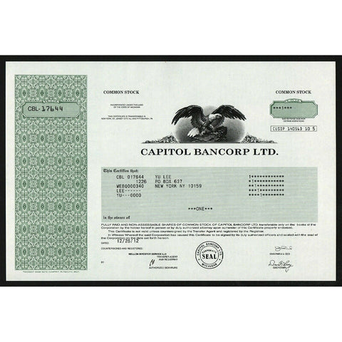 Capitol Bancorp Ltd. Michigan Stock Certificate