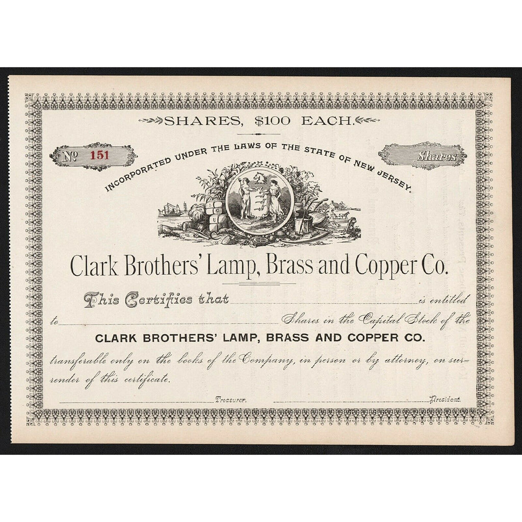 Clark Brothers' Lamp, Brass and Copper Co. New Jersey Stock Certificate