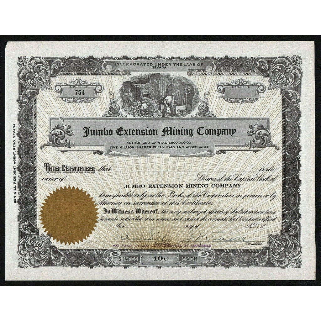 Jumbo Extension Mining Company Nevada Stock Certificate