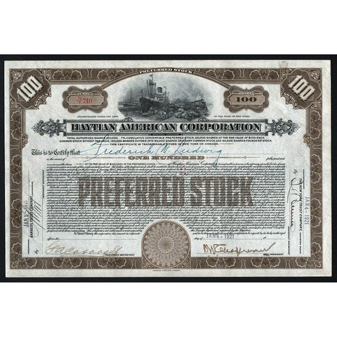 Haytian American Corporation (Haiti) 1921 New York Stock Certificate