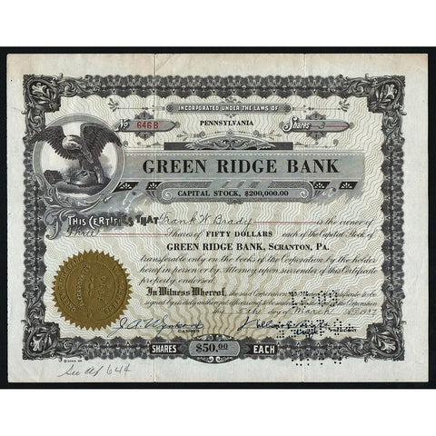 Green Ridge Bank Pennsylvania Stock Certificate