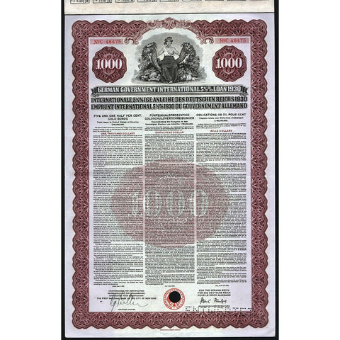 1930 Germany: German Government International Loan Bond Certificate