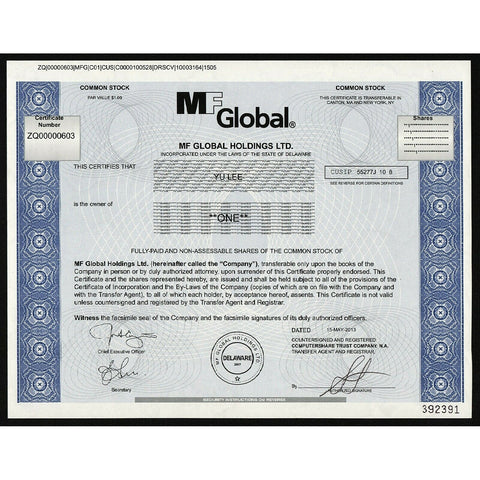 MF Global Holdings Ltd. (Jon Corzine) Stock Certificate