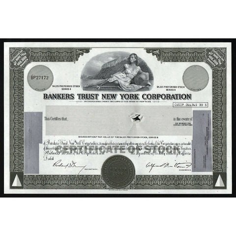 Bankers Trust New York Corporation Stock Certificate