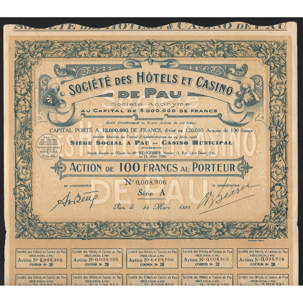 Societe des Hotels et Casino de Pau S.A. 1928 France Stock Certificate