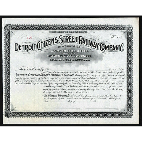 Detroit Citizens Street Railway Company Michigan Stock Certificate