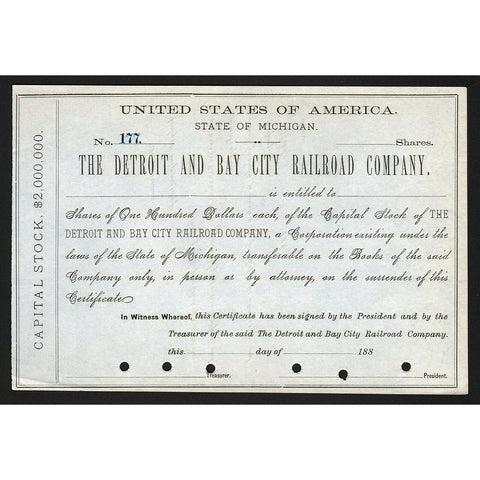 Detroit and Bay City Railroad Company Michigan Stock Certificate