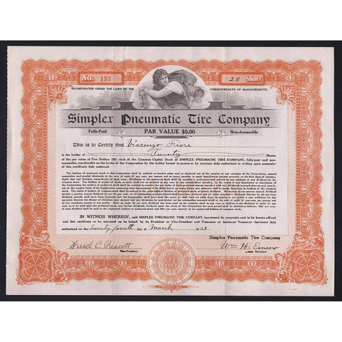 Simpler Pneumatic Tire Company Massachusetts Stock Certificate