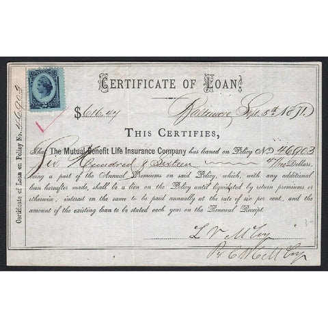 The Mutual Benefit Life Insurance Company 1871 Baltimore Bond Certificate