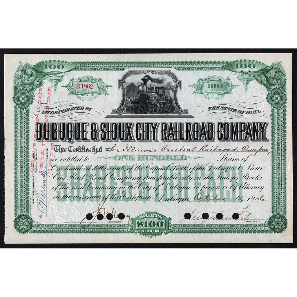 Dubuque & Sioux City Railroad Company Iowa 1906 Stock Certificate
