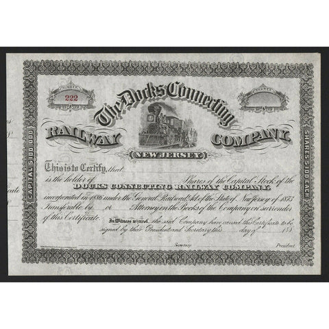 The Docks Connecting Railway Company (New Jersey) Stock Certificate