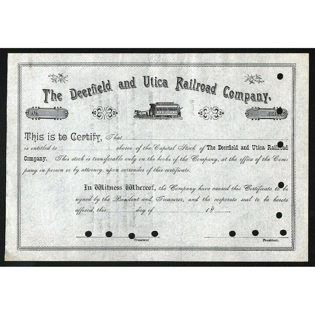 The Deerfield and Utica Railroad Company Stock Certificate