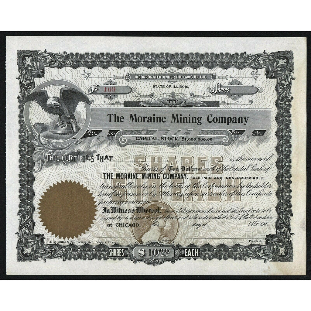 The Moraine Mining Company Chicago Illinois Stock Certificate