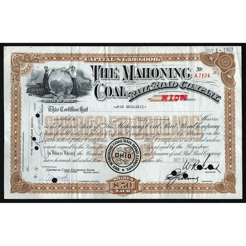 The Mahoning Coal Rail Road Company Ohio Stock Certificate
