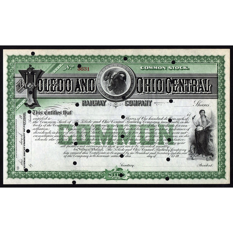 The Toledo and Ohio Central Railway Company Stock Certificate