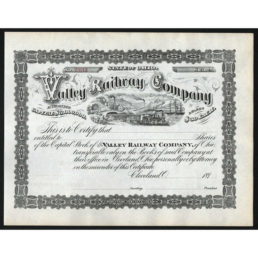 Valley Railway Company Cleveland Ohio Stock Certificate