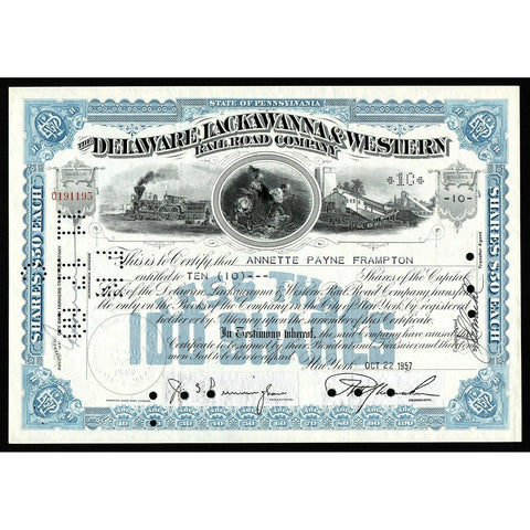 The Delaware, Lackawanna & Western Rail Road Company Pennsylvania Stock Certificate