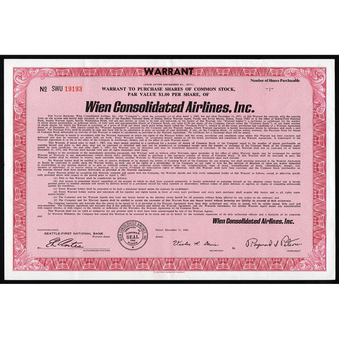 Wien Consolidated Airlines, Inc Alaska Stock Certificate
