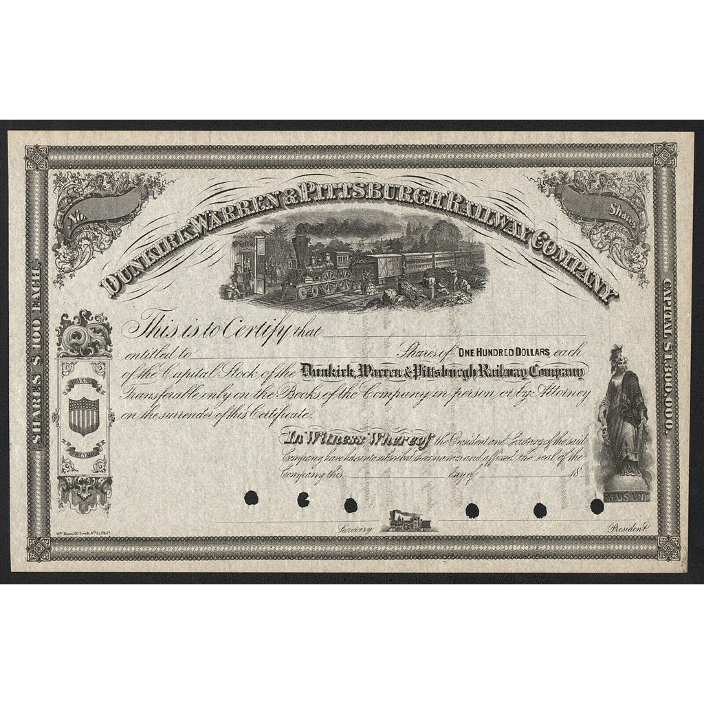 Dunkirk, Warren & Pittsburgh Railway Company Stock Certificate