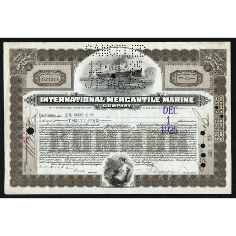 International Mercantile Marine Company (Titanic) 1925 New Jersey Stock Certificate