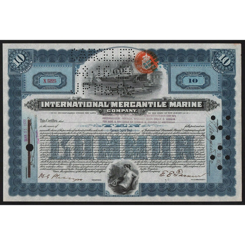 International Mercantile Marine Company (Titanic) 1920 New Jersey Stock Certificate
