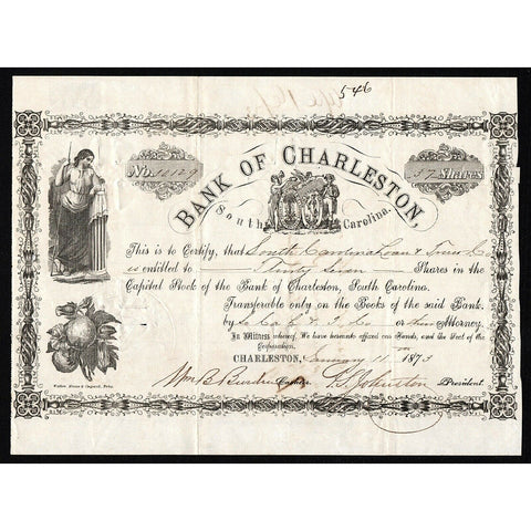 Bank of Charleston 1873 South Carolina Stock Certificate