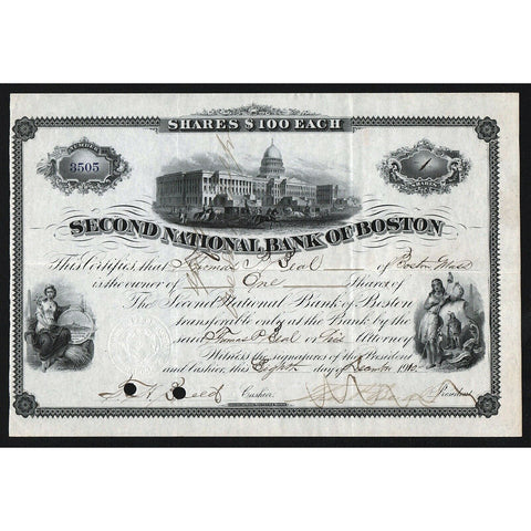 Second National Bank of Boston 1910 Massachusetts Stock Certificate