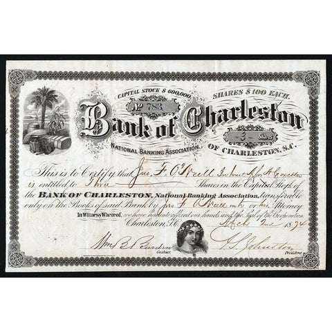 Bank of Charleston 1874 South Carolina Stock Certificate
