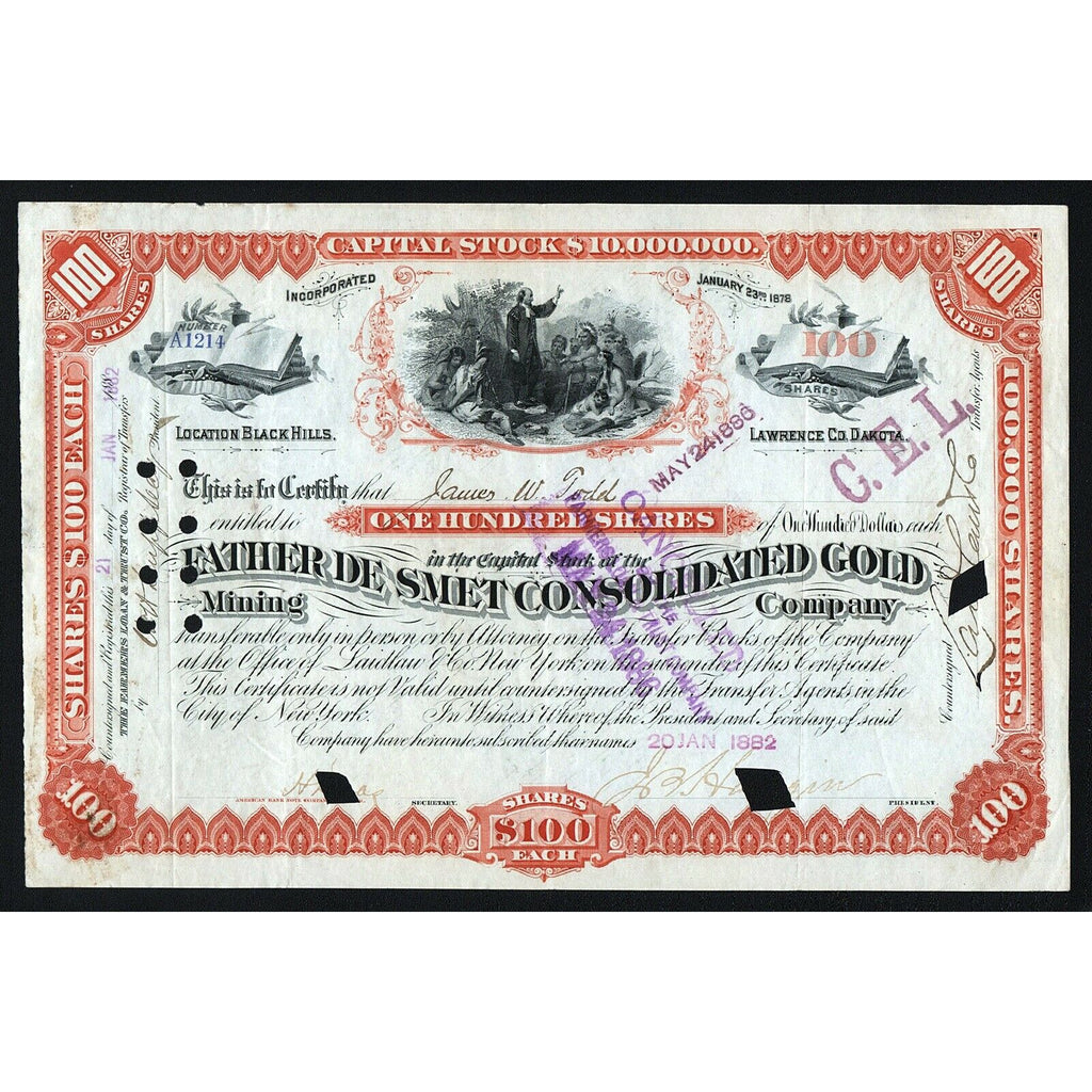 Father De Smet Consolidated Gold Mining Company 1882 Black Hills Dakota Stock Certificate