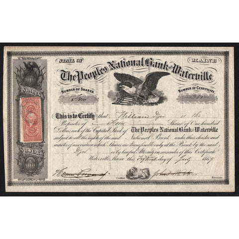 The Peoples National Bank of Waterville 1869 Maine Stock Certificate