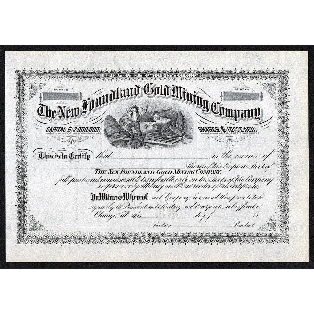 The New Foundland Gold Mining Company Colorado Stock Certificate
