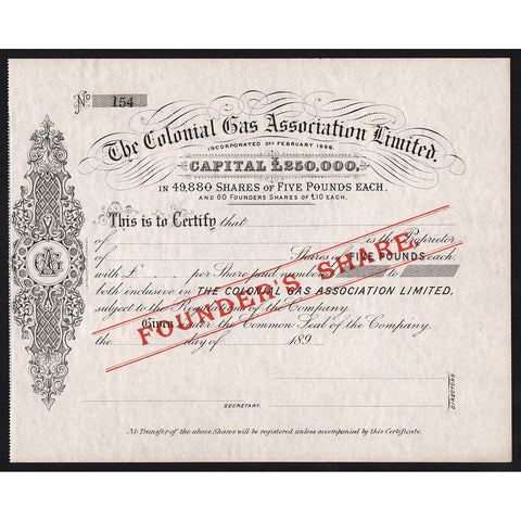 The Colonial Gas Association Limited Australia 1888 Stock Certificate