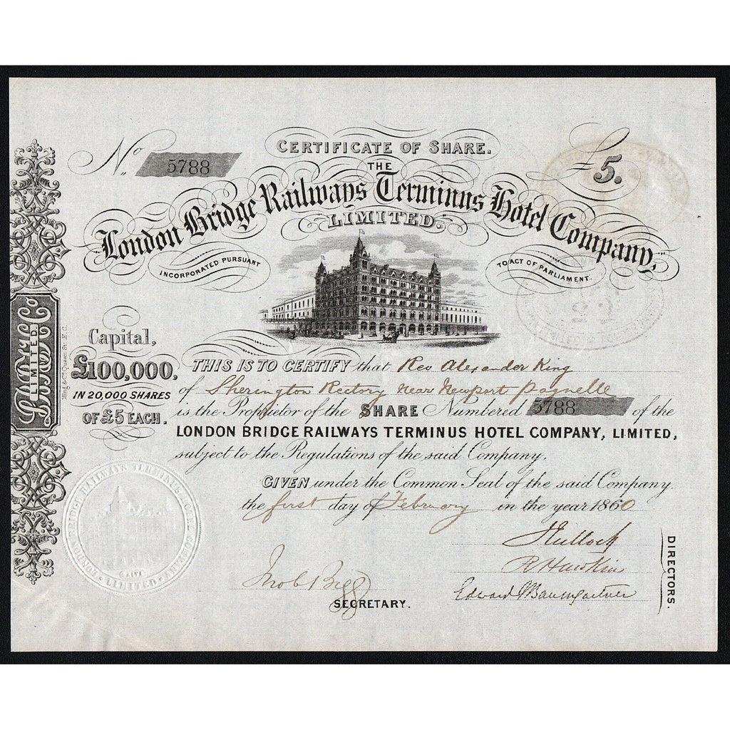 The London Bridge Railways Terminus Hotel Company, Limited 1860 Stock Certificate