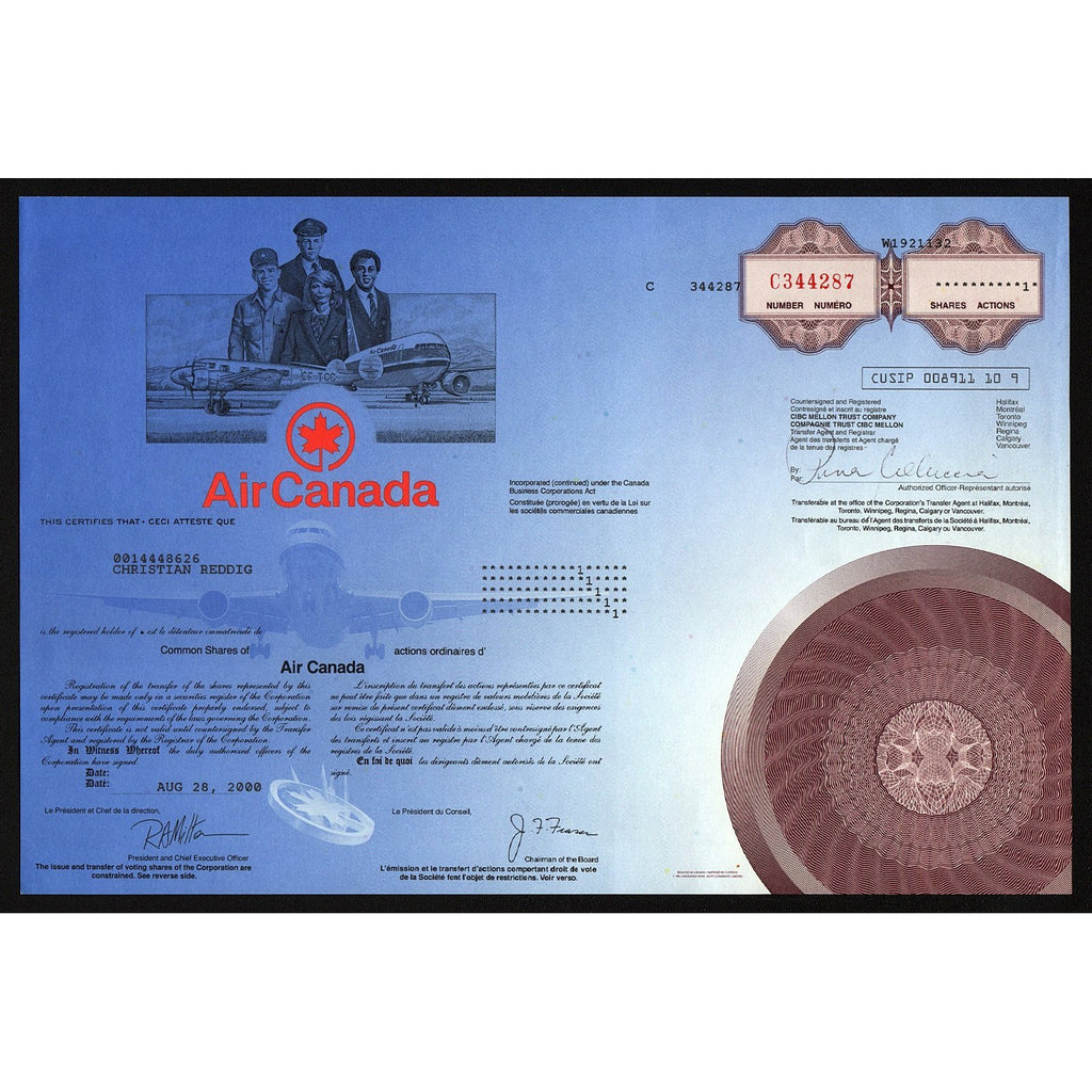 Air Canada Stock Share Certificate