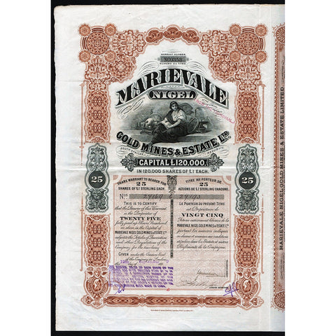 Marievale Nigel Gold Mines & Estate Ltd. 1899 South Africa Stock Certificate