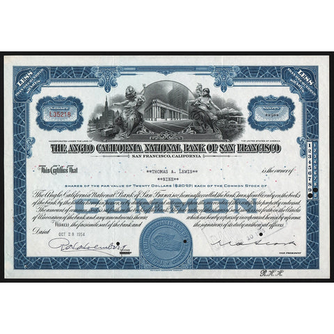 The Anglo California National Bank of San Francisco Stock Certificate
