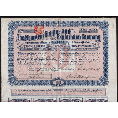 The New Ario Copper and Exploration Company 1898 South Africa Stock Certificate