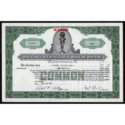 Rockland-Atlas National Bank of Boston Stock Certificate