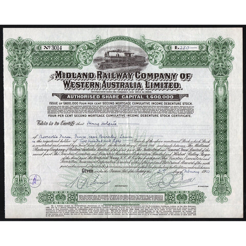 1951 The Midland Railway Company of Western Australia Bond Certificate