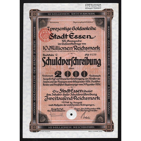 7 prozentige Goldanleihe der Stadt Essen (Gold Bond) 1926 Germany Stock Certificate