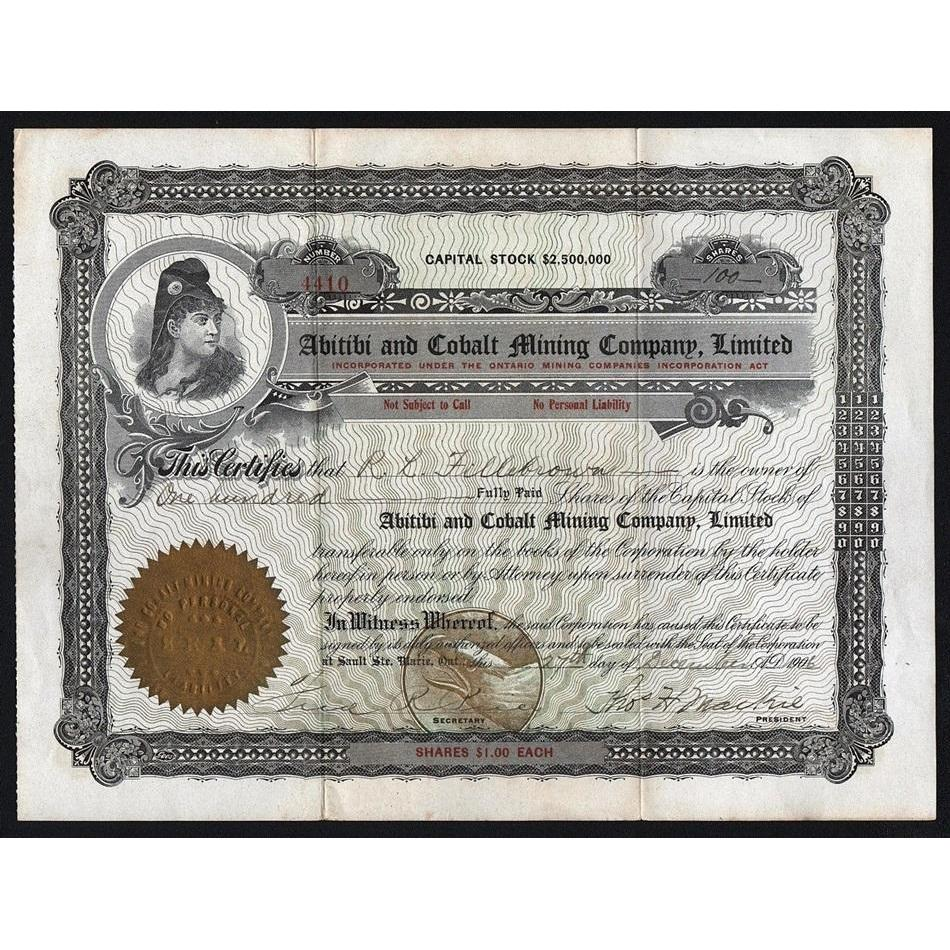 Abitibi and Cobalt Mining Company, Limited Stock Certificate