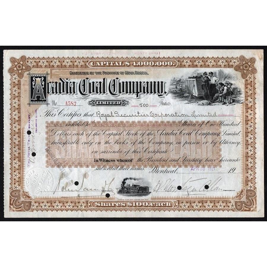 Acadia Coal Company, Limited (signed H. Montagu Allan) Stock Certificate
