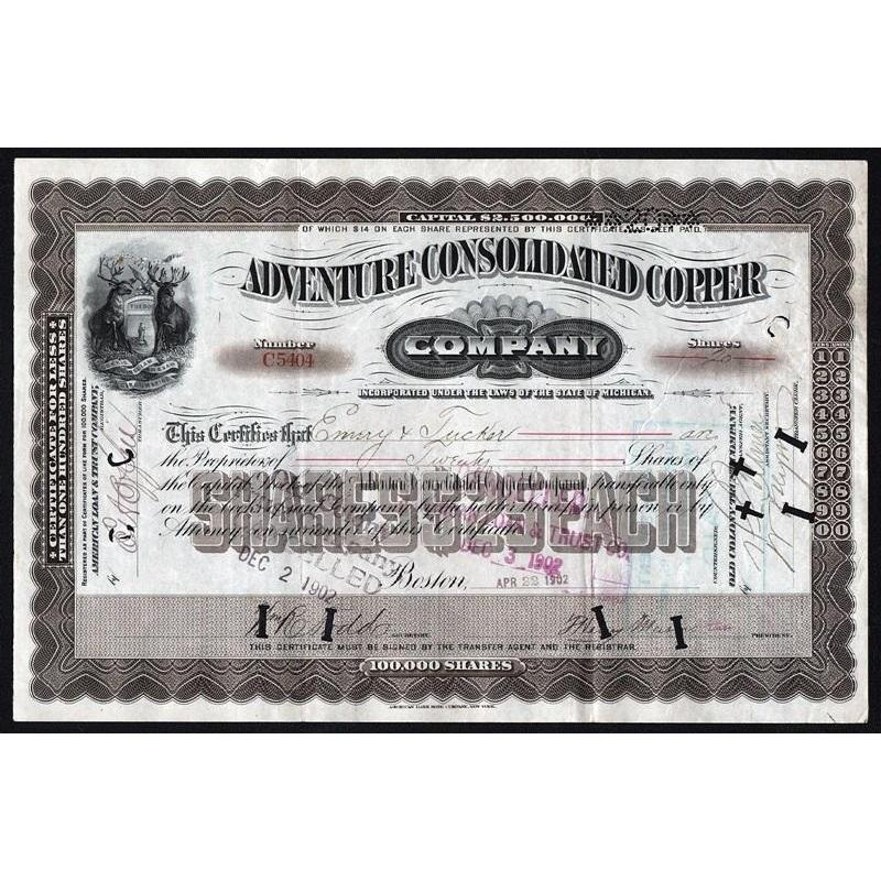 Adventure Consolidated Copper Stock Certificate