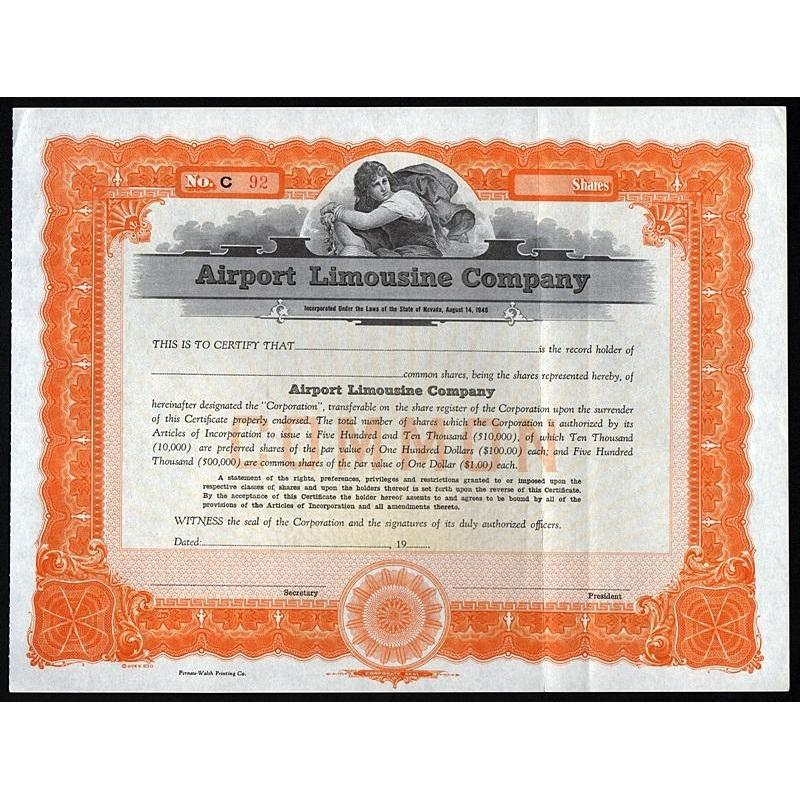 Airport Limousine Company Stock Certificate