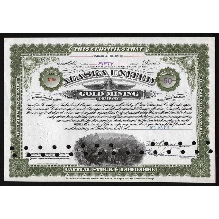 Alaska United Gold Mining Company Stock Certificate