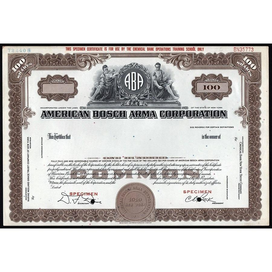 American Bosch Arma Corporation Stock Certificate