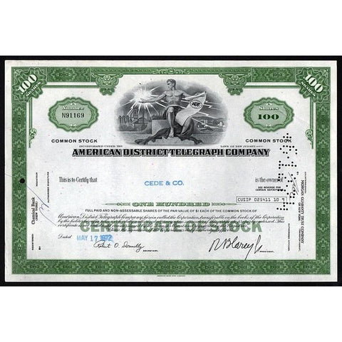 American District Telegraph Company (ADT Security) Stock Certificate