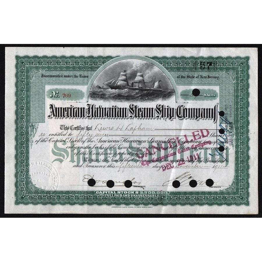 American-Hawaiian Steam Ship Company Stock Certificate