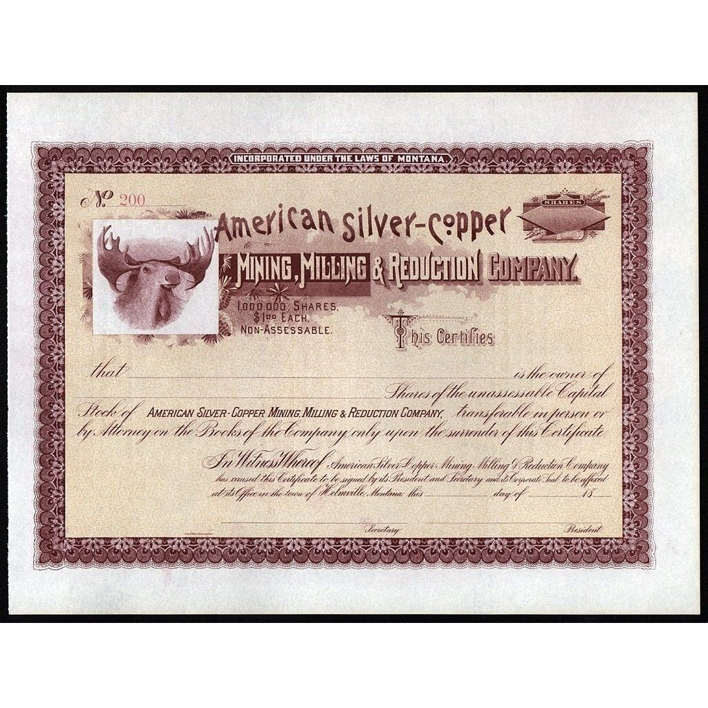 American Silver-Copper Mining, Milling & Reduction Company Stock Certificate